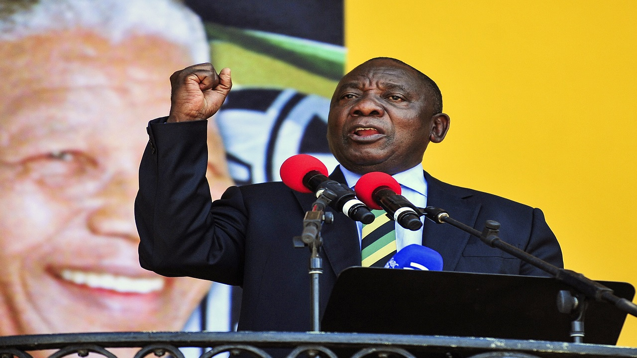 Cyril Ramaphosa delivers a speech at the Grand Parade in Cape Town, South Africa. (PHOTO: AP)