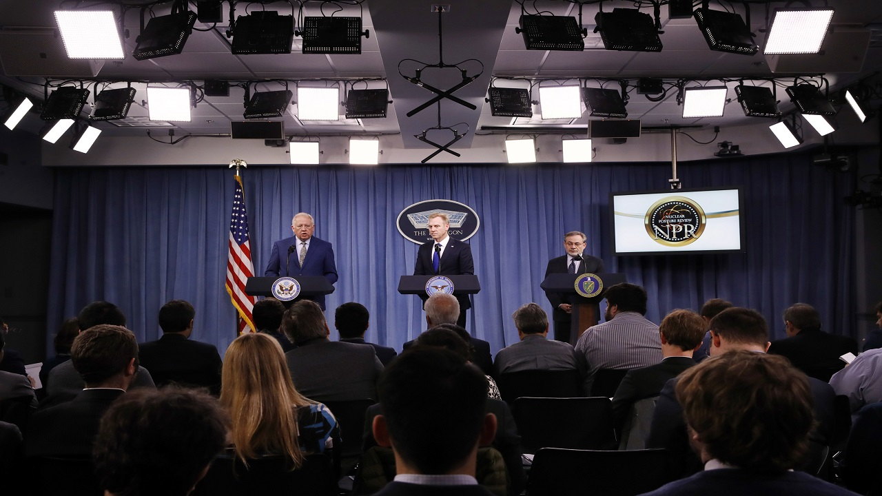 Under Secretary of State for Political Affairs Thomas Shannon, left, Deputy Defense Secretary Patrick Shanahan, and Deputy Energy Secretary Dan Brouillette, lead a news conference on the 2018 Nuclear Posture Review, at the Pentagon, Friday, Feb. 2, 2018.