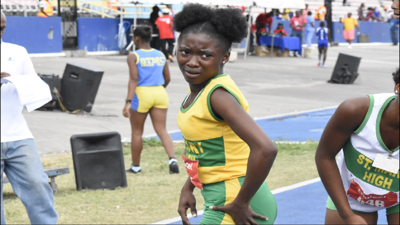 Sydonie McIntosh of St Mary High reacts after breaking the Girls' Class 3 100-metre record on Tuesday's second day of the Digicel Grand Prix opening meet (Eastern Championships) at the National Stadium. (PHOTO: Marlon Reid).
