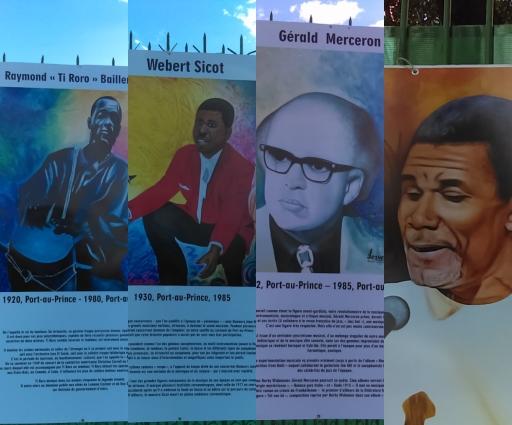 Une galerie de trente-trois portraits d'artistes haïtiens célèbres exposés sur les murs du Palais présidentiel. Photo : Rosny Ladouceur