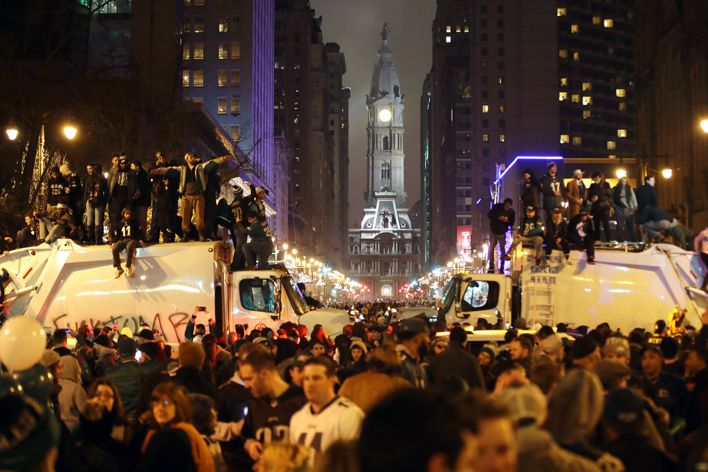 Philadelphia Eagles fans celebrate the team's victory in NFL Super Bowl 52 between the Philadelphia Eagles and the New England Patriots. (AP Photo/Matt Rourke)