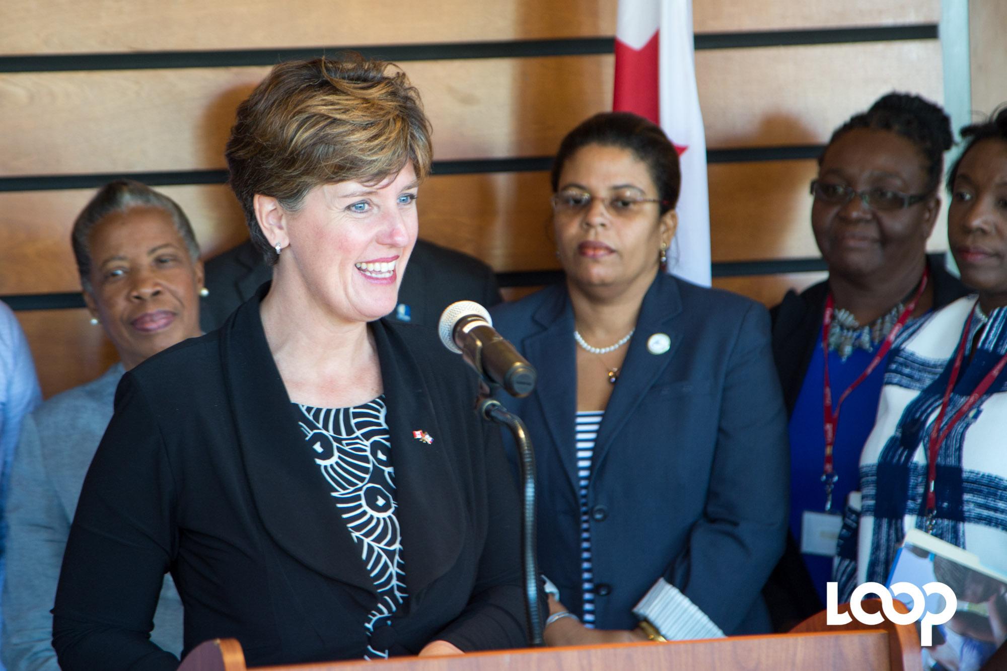 Madame Marie-Claude Bibeau, en conférence de presse à l'Ambassade du Canada/ Photos et vidéos: Estailove St-Val / Loop Haiti