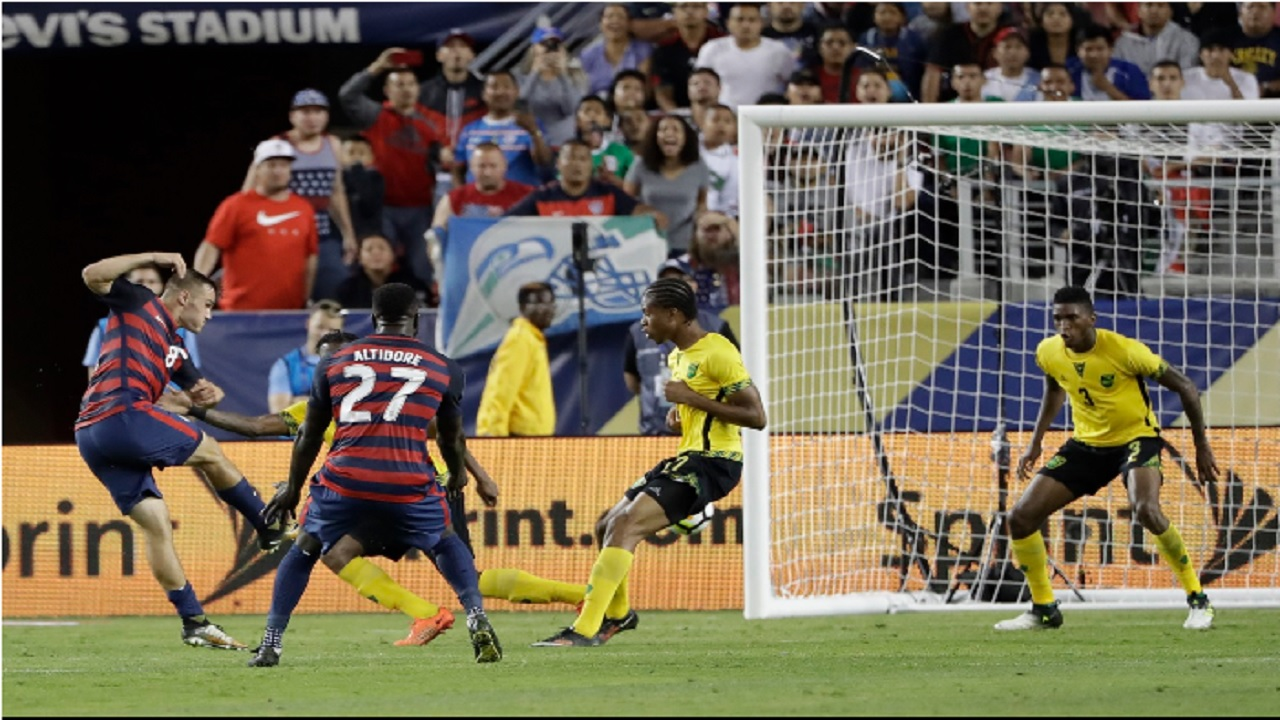 United States' Jordan Morris scores his team's second goal against Jamaica during the second half of the 2017 Gold Cup final in Santa Clara, Calif., on July 26.
