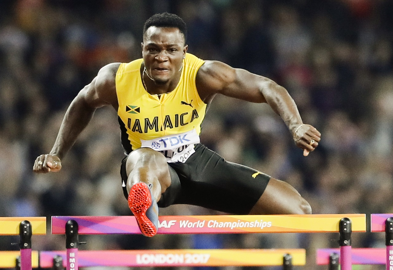 Jamaica's Omar Mcleod races to win the gold medal in the final of the Men's 110m hurdles during the World Athletics Championships in London Monday, Aug. 7, 2017.