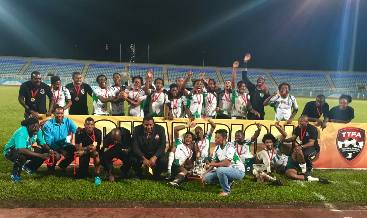 W Connection players and staff pose with the 2017 FA Trophy