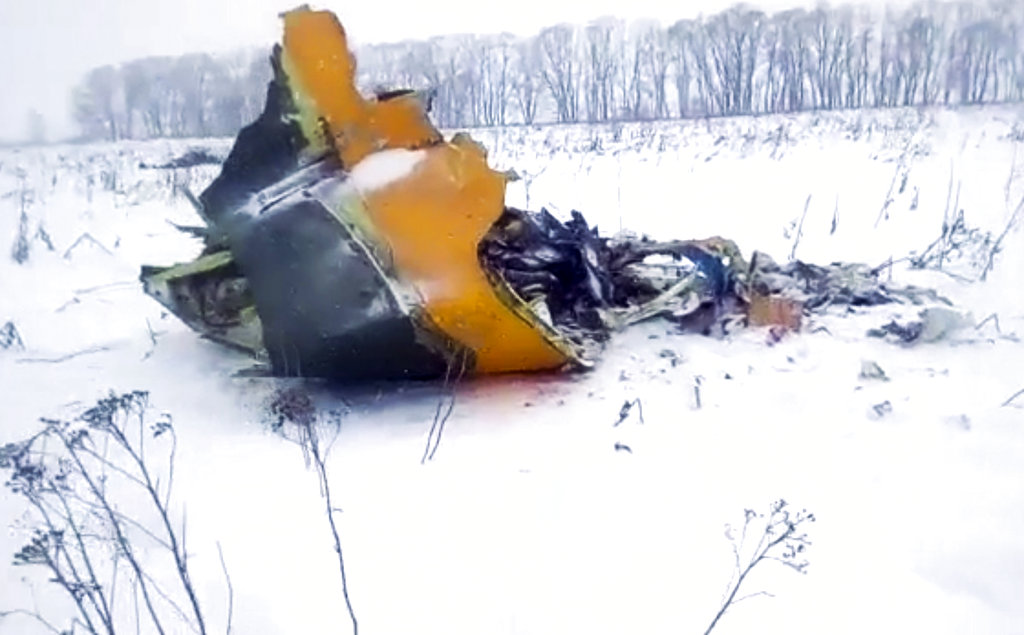 In this screen grab provided by the Life.ru, the wreckage of a AN-148 plane is seen in Stepanovskoye village, about 40 kilometers (25 miles) from the Domodedovo airport. (Life.ru via AP)