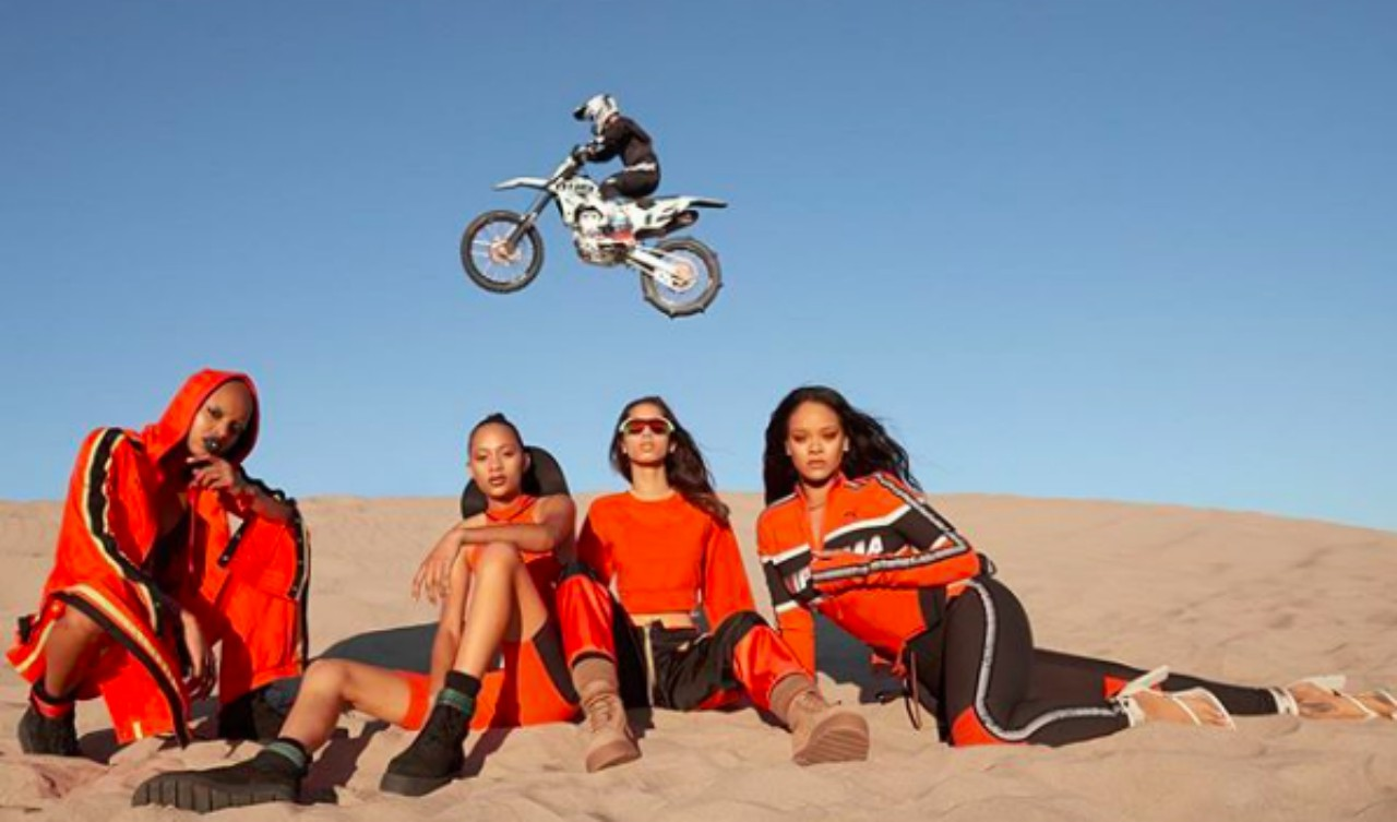 Rihanna and her models rocking her FentyxPuma SS18 designs. (Source: @badgalriri IG)