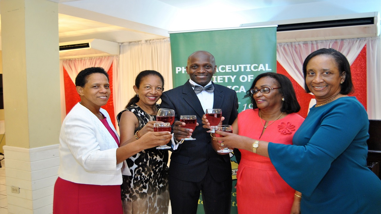 Members of the Pharmaceutical Society of Jamaica. L-R: Verna Edwards (Past president: 2007-2009), Hermine Metcalfe (Past PSJ executive member), Ainsley Jones (Current PSJ President 2016-2018), Vivienne Watson (past president: 1999-2002), and Anne Logan (PSJ Member).