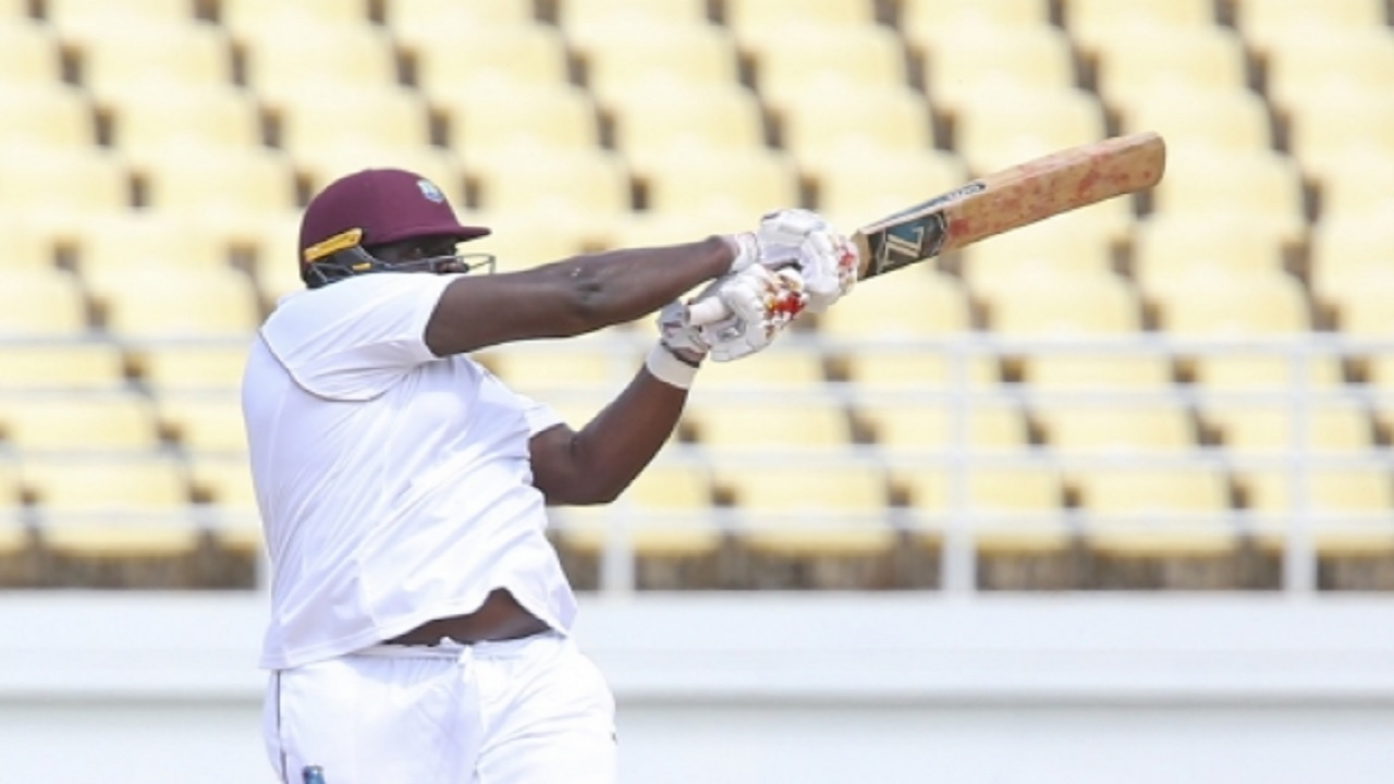 Rahkeem Cornwall hits the winning runs for West Indies A.