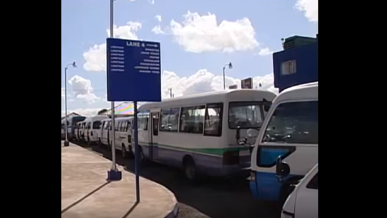Buses parked at the Linstead Transportation Centre