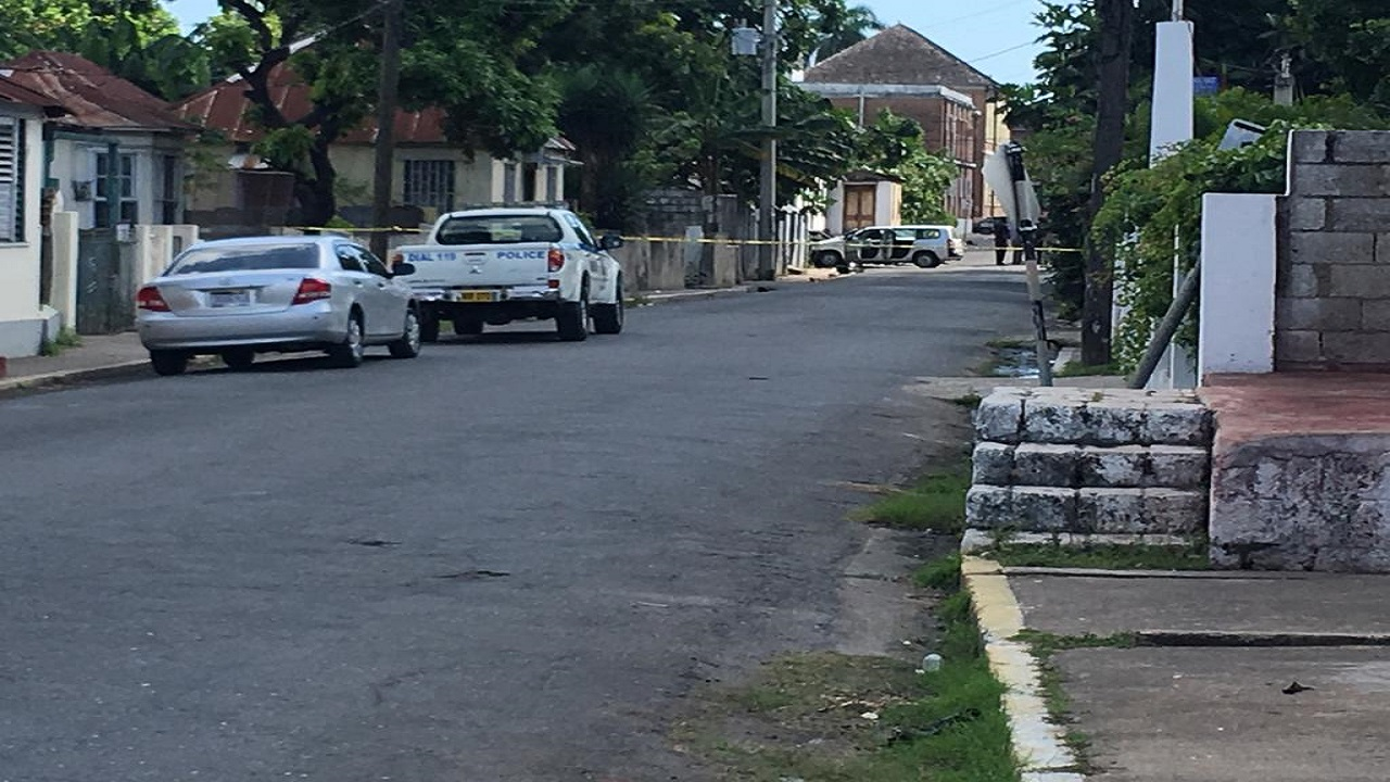 Brunswick Avenue in Spanish Town is cordoned off by police after the shooting.