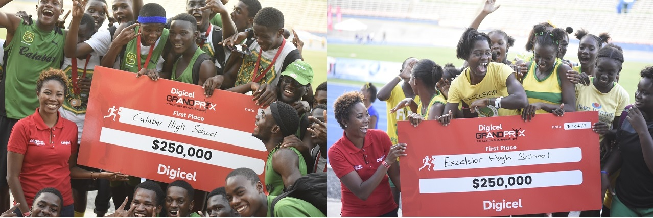 The combination of photos show athletes from Calabar High (left) and Excelsior High posing with their cheques after the schools won the boys and girls' titles at the Digicel Corporate Area Championships, at the National Stadium on Friday. (PHOTO: Marlon Reid).