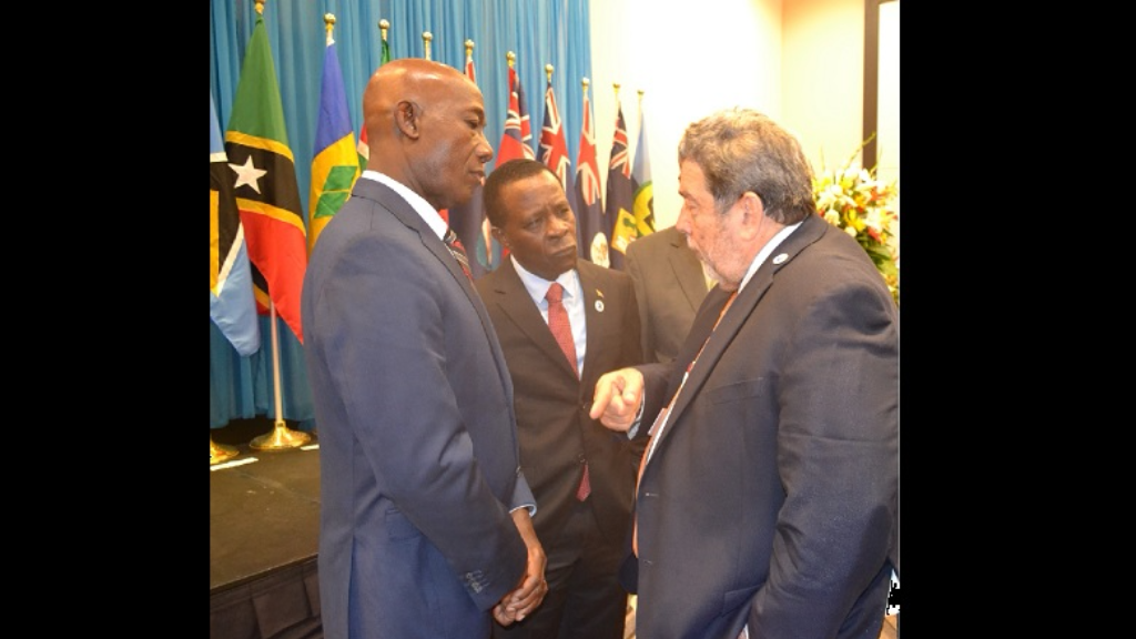 Prime Minister Dr Keith Rowley and the Prime Minister of Grenada, Dr Keith Mitchell, listen attentively to Prime Minister of St Vincent and the Grenadines, Ralph Gonsalves.