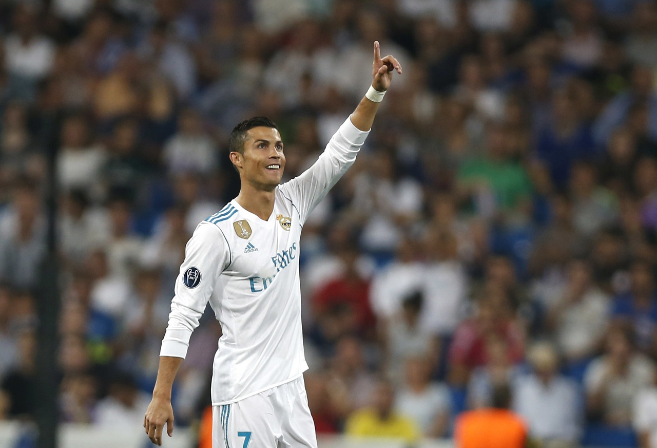 Real Madrid's Cristiano Ronaldo celebrates scoring his side's 2nd goal during a Champions League group H football match against Apoel Nicosia at the Santiago Bernabeu stadium in Madrid, Spain, Wednesday, Sept. 13, 2017.