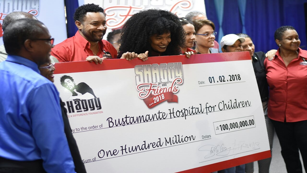 The recent presentation of $100 million to the Bustamante Hospital for Children following the staging of the Shaggy Make a Difference charity concert.