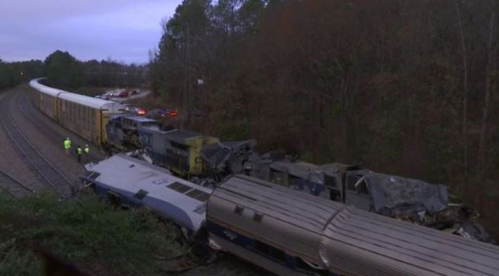 Derailed Amtrak cars after a train traveling from New York to Miami collided with a CSX freight train in South Carolina.  (Fox News)