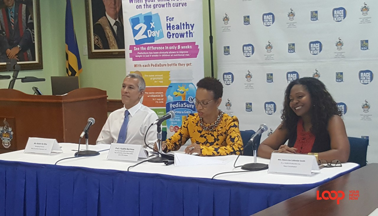 (center) Pro Vice-Chancellor and Principal of the University of the West Indies (UWI), Prof. V. Eudine Barriteau