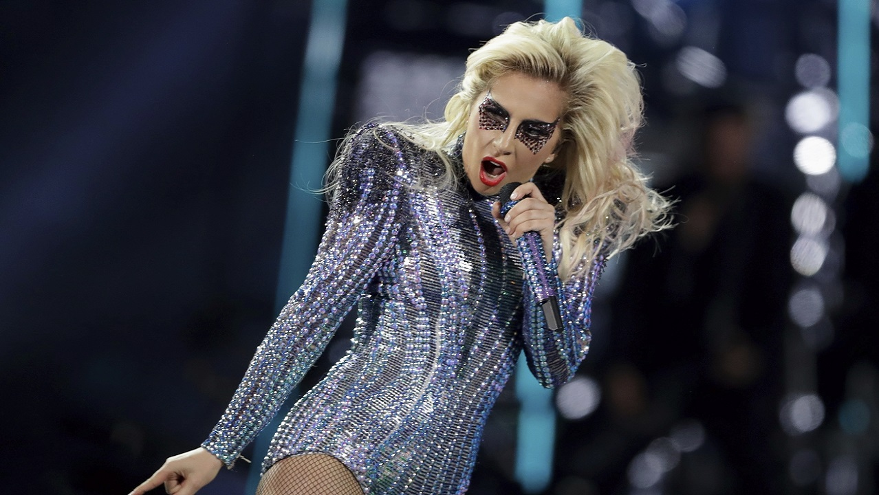 (Image: AP: Lady Gaga performs on 5 February 2017)
