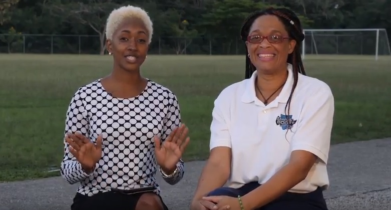 (L-R) Karma Warrington and Renee Gay hosting an episode of the Shins N Boots football show.