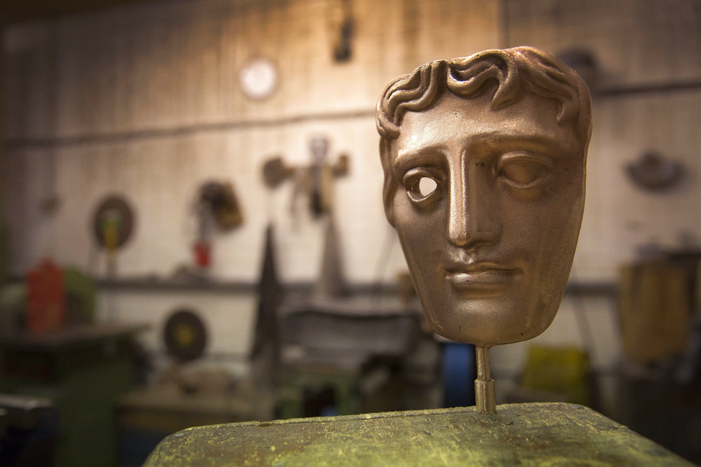 A bronze alloy BAFTA mask stands in a foundry in West Drayton, London, ahead of the award ceremony. (Photo by Joel Ryan/Invision/AP, File)