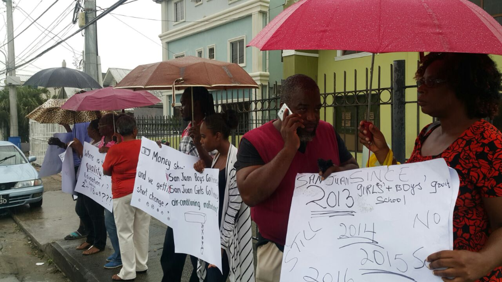 Flashback: Parents of students at the San Juan Girls' and Boys' Primary Schools protest the slow pace of construction. Education Minister Anthony Garcia says the school is 58 percent complete.