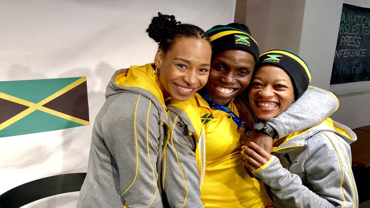 Jamaica's women bobsled team (from left) JazmineFenlator-Victorian, Carrie Russell and Audra Segree.