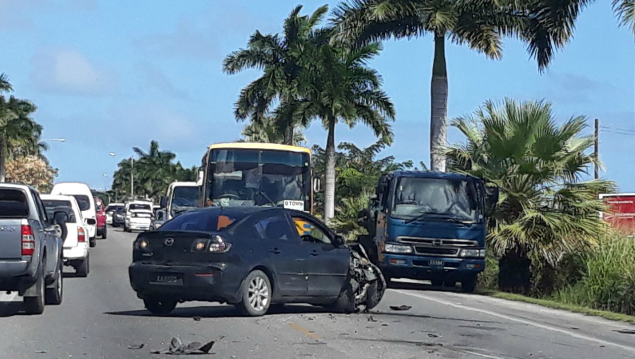The car which was involved in the crash with the coach.