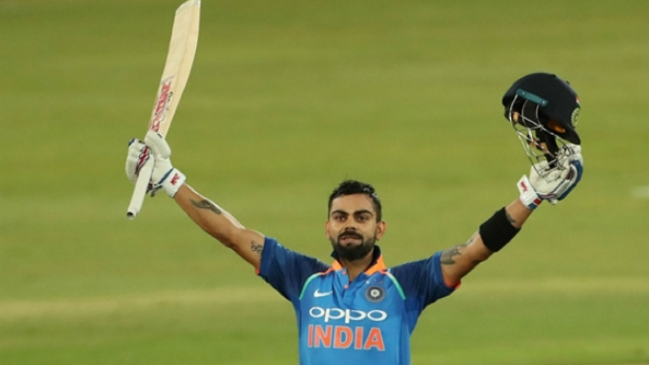 Virat Kohli celebrates century against South Africa.