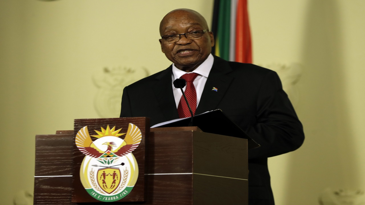 outh African President Jacob Zuma addresses the nation and press at the government's Union Buildings in Pretoria, South Africa, Wednesday, Feb. 14, 2018.