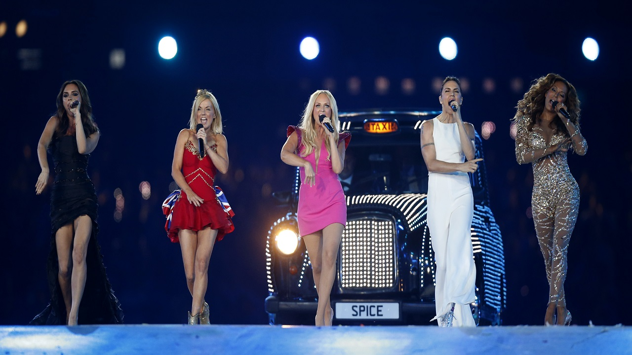 "In this Sunday, Aug. 12, 2012 file photo, British band 'The Spice Girls' perform during the Closing Ceremony at the 2012 Summer Olympics, in London. All five former members of the Spice Girls have met up amid rumors of a plan to reunite the girl-power group.Photos posted by several group members on social media showed Victoria ""Posh Spice"" Beckham, Melanie ""Sporty Spice"" Chisholm, Emma ""Baby Spice"" Bunton, Melanie ""Scary Spice"" Brown and Geri ""Ginger Spice"" Horner."