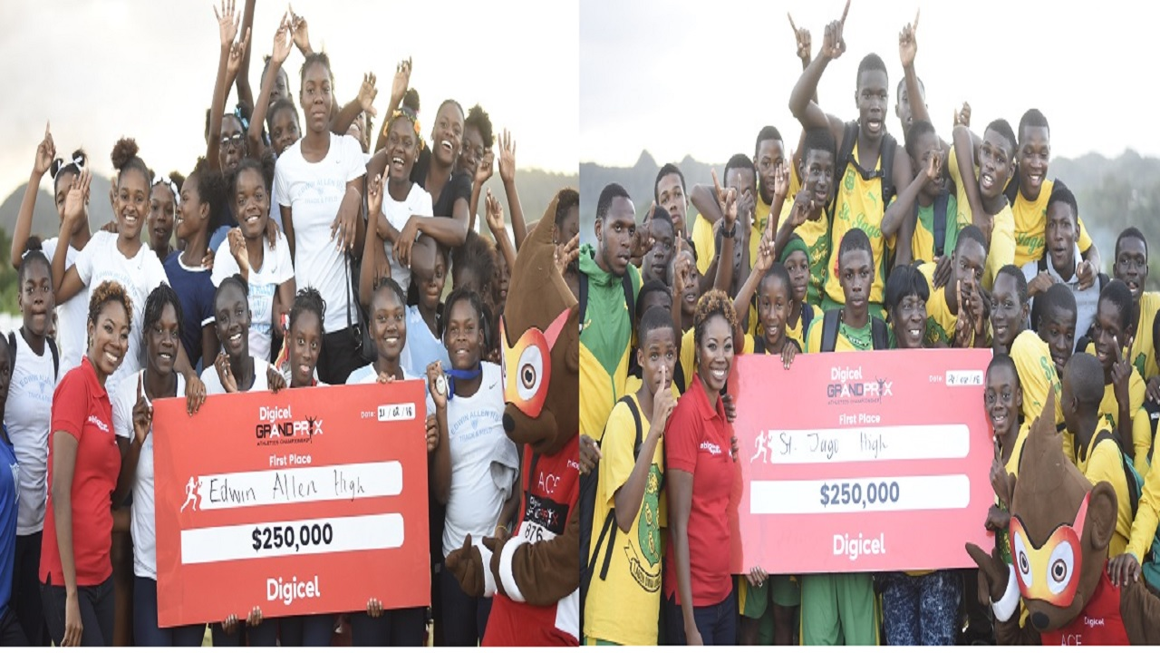 The combination of photos show Monique McLeod, marketing manager of Digicel. with athletes from Edwin Allen (left) and St Jago High posing with their cheques after the schools won the girls and boys'  titles at the Digicel Central Championships, at  G C Foster College on Wednesday. (PHOTO: Marlon Reid).