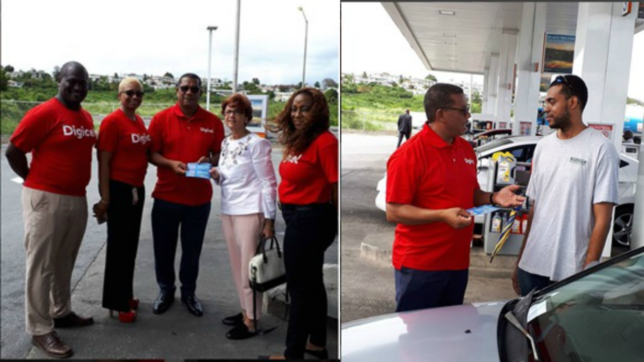 [LEFT PHOTO] CEO Alex Tasker (center) joined by some of the Digicel Love Bugs to present Digicel Customer Judith King with her anniversary treat.