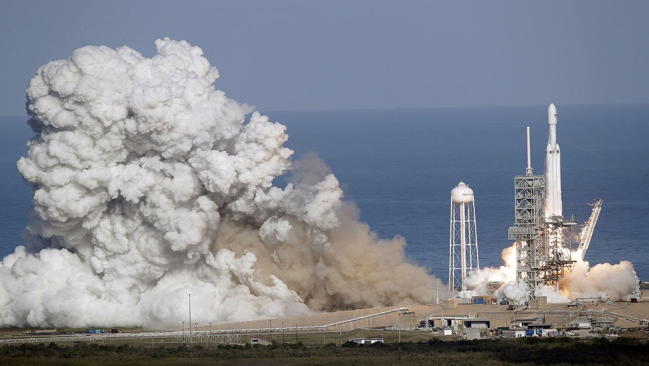 (Image: AP: The Falcon Heavy blasts off at the Kennedy Space Center on 6 February 2018)
