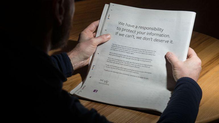 """Facebook s'est offert une pleine page de publicité dimanche dans la presse britannique pour présenter de nouveau ses excuses et les """"regrets"""" de son patron Mark Zuckerberg."""