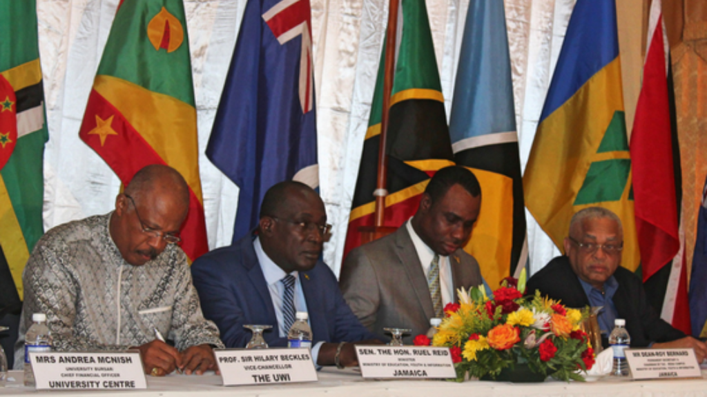 (L-R) Seated during the Opening Session of the Technical Advisory Committees (TACs) for  UWI are Vice-Chancellor Professor Sir Hilary Beckles, Minister of Education, Youth and Information of Jamaica, the Honourable Ruel Reid, Permanent Secretary, Ministry of Education, Youth and Information of Jamaica Dean-Roy Bernard and Pro Vice-Chancellor and Principal of UWI Mona Campus, Professor Archibald McDonald