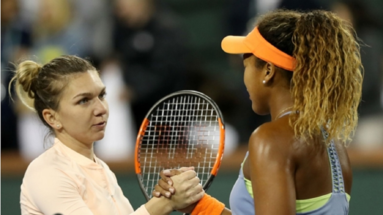 Simona Halep shakes hands with Naomi Osaka after her Indian Wells exit.