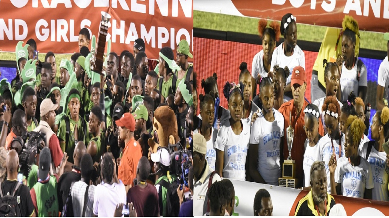 The combination of pictures show Calabar High and Edwin Allen High posing with their championship trophies after they retained their titles at the 2018 ISSA/GraceKennedy Boys and Girls' Athletics Championships at the National Stadium, on Saturday night. (PHOTO: Marlon Reid).