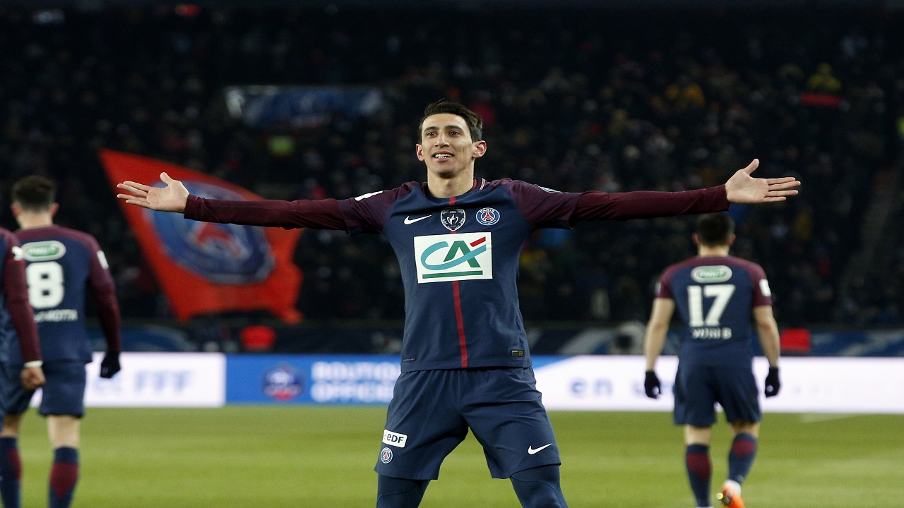 PSG's Angel Di Maria celebrates after scoring his side's opening goal during the French Cup football match against Marseille at the Parc des Princes Stadium, in Paris, France, Wednesday, Feb. 28, 2018.