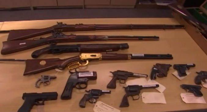 Some of the guns obtained during the Australian gun amnesty. (PHOTO: Still from video on Time Inc.)