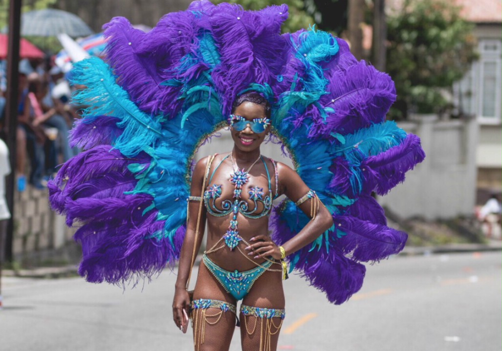 Katrina wearing a personal design on the road for Grand Kadooment 2017.