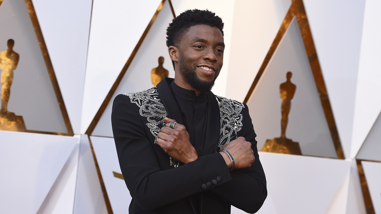 Black Panther's Chadwick Boseman arrives at the Oscars (Image: AP)
