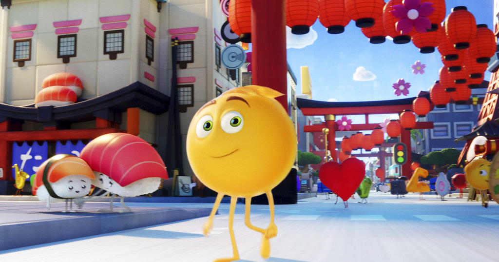 "This image released by Sony Pictures shows Gene, voiced by T.J. Miller, in Columbia Pictures and Sony Pictures Animation's ""The Emoji Movie."" (Sony Pictures Animation via AP)"