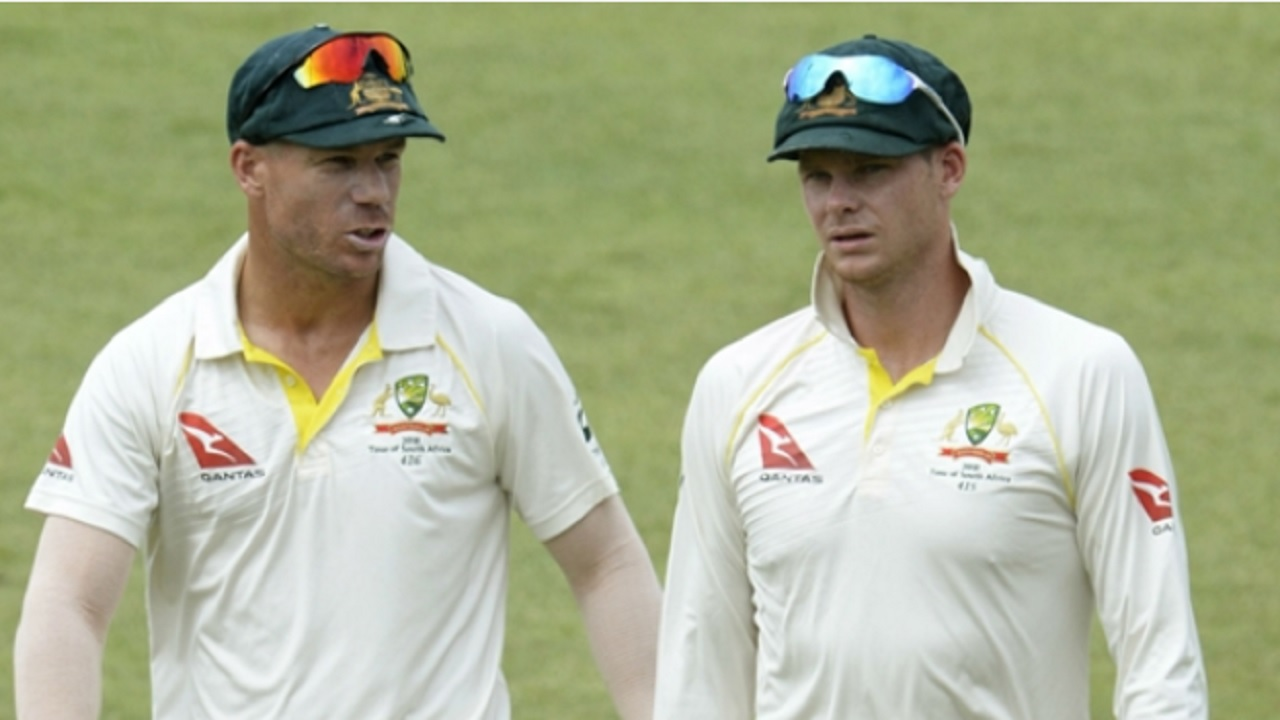 David Warner and Steve Smith on day five of the Cape Town Test against South Africa.