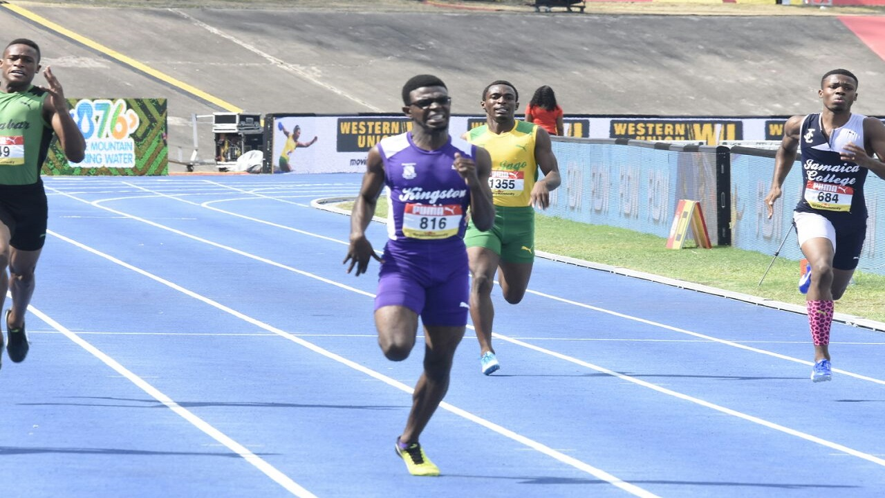 Deshawn Morris of KC moves away from the field to win the Boys' Class 1 400m final on Saturday's fifth and final day of the 2018 ISSA/GraceKennedy Boys and Girls' Athletics Championships at the National Stadium. (PHOTO: Marlon Reid).