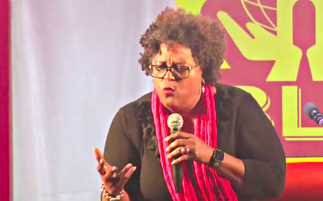 Mia Mottley at Four Roads, St. John