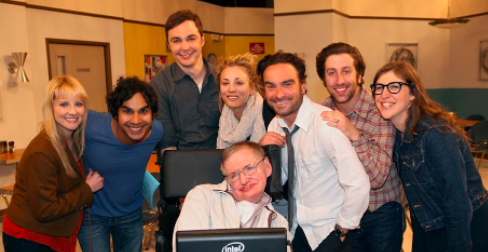 The Big Bang Theory cast with Stephen Hawking (SOURCE: Twitter)
