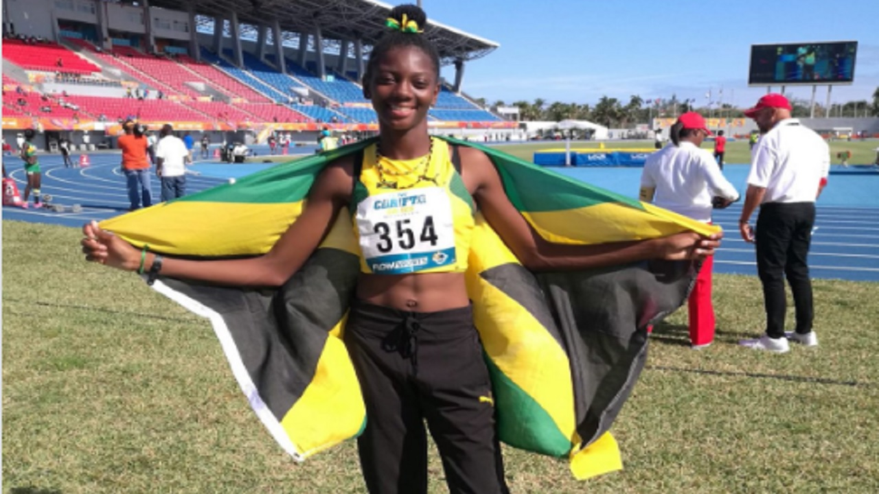 Shantae Foreman after winning the Girls' Under 17 high jump final at the 2018 Carifta Games in The Bahamas on Saturday's opening day.