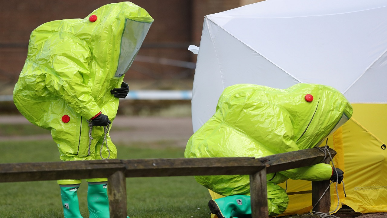 (Image: AP: Police on scene in Salisbury centre)