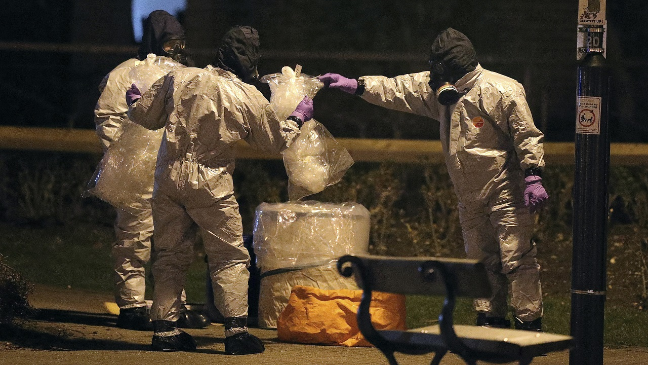 (Image: AP: Investigators work at the scene in Salisbury, England, on 13 March 2018)