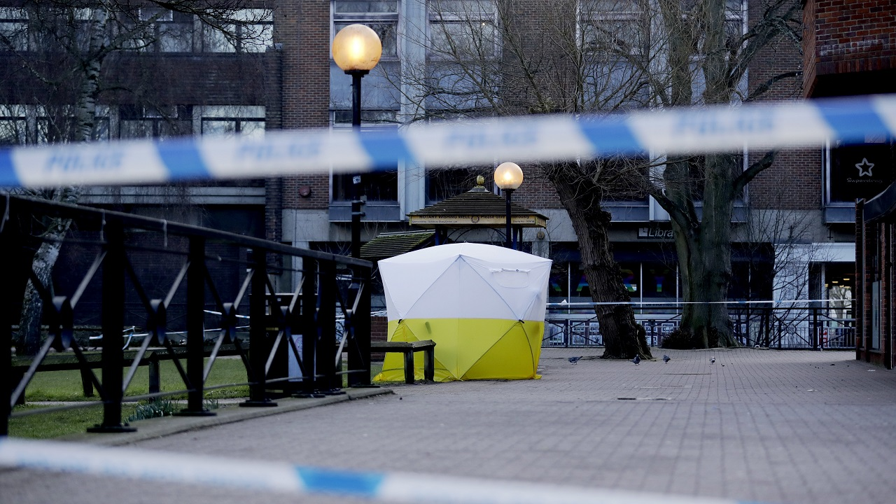 (Image: AP: Cordoned-off area in Salisbury, UK)